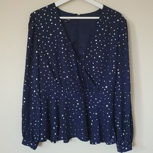 Bebe Gold Foil Star Navy Crossover Blouse Size 8